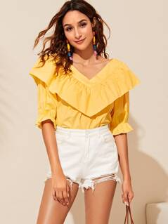 V Neck Ruffle Trim Solid Top