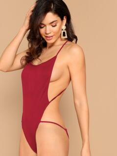 Crisscross Backless Halter Bodysuit