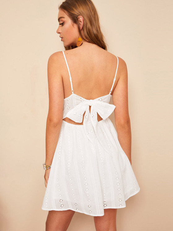 988c095624a3 Knot Back Embroidery Eyelet Cami Dress | MakeMeChic.COM