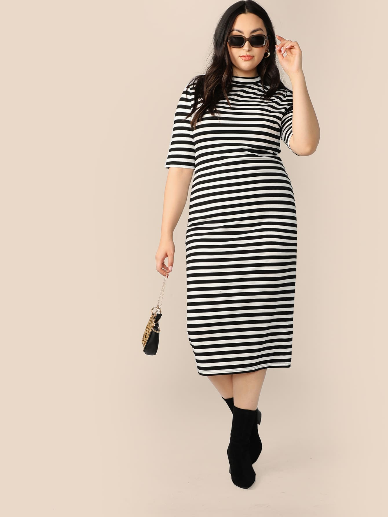 Фото - Размер плюс полосатое платье-карандаш с воротником-стойка от SheIn цвет чёрнобелые