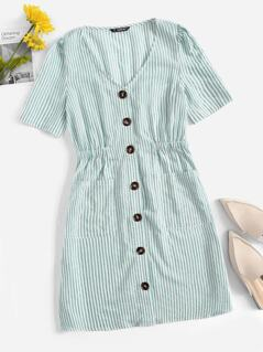 Single Breasted Pocket Patched Striped Dress
