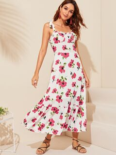 Tie Strap Ruffle Trim Shirred Back Floral Sundress