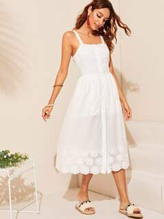 Embroidered Eyelet Hem Button Up Dress