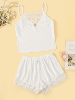 Lace Insert Velvet Cami Top and Shorts PJ Set