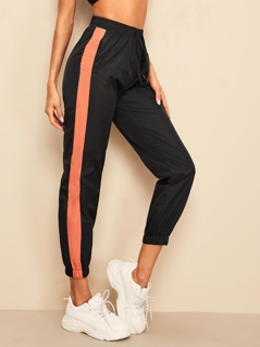 Contrast Side Elastic Hem Crop Wind Pants