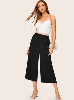 Button Front Wide Leg Crop Pants