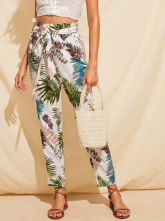 Paperbag Waist Slant Pocket Tropical Print Pants