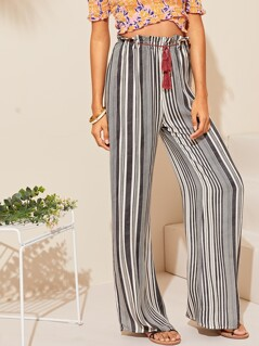 Tassel Belted Ruffle Trim Wide Leg Striped Pants