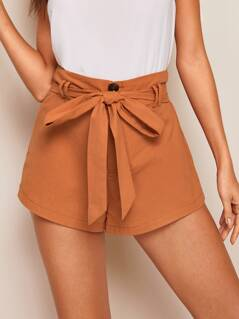 Buttoned Front Belted Shorts