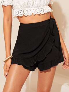 Ruffle Trim Wrap Shorts