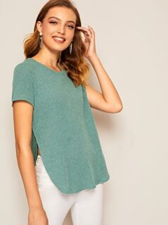 Split Side Rib-knit T-shirt