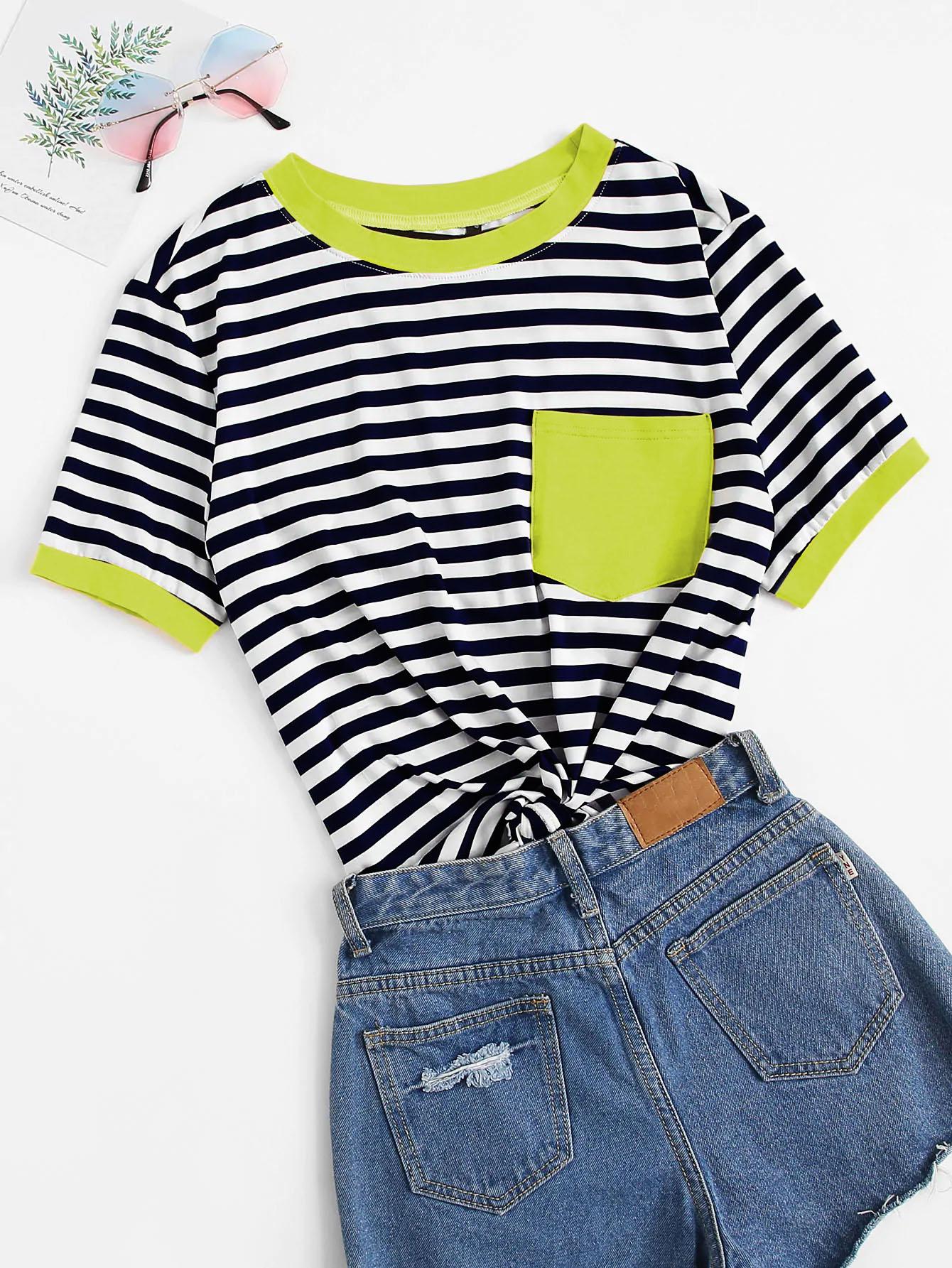Фото - Полосатая футболка с карманом от SheIn цвет многихцветный