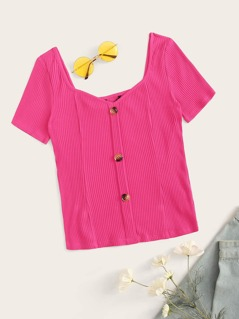 Neon Pink Sweetheart Button Front Rib-knit Tee