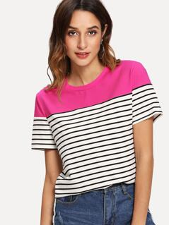 Color-block Striped Tee