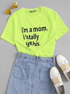 Neon Lime Slogan Print Tee