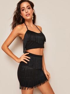 Layered Fringe Hem Halter Top& Skinny Skirt Set