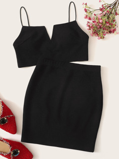 V-cut Crop Cami Top & Skirt Set