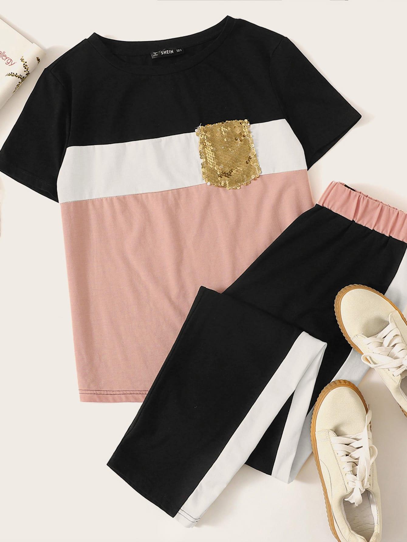 Фото - Контрастные топ с блестками на кармане и брюки от SheIn цвет многоцветный