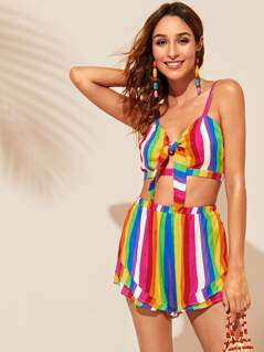 Tie Front Rainbow Striped Cami Top & Shorts Set