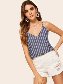 Double V Neckline Striped Cami Top