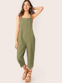 Linen Culotte Straight Leg Overall Jumpsuit