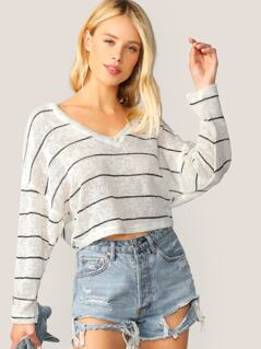 V-Neck Boxy Fit Stripe Pullover Knit Sweater