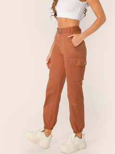 Pocket Side Buckle Belted Lantern Pants