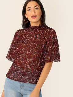 Ditsy Floral Frill Neck Flutter Sleeve Top