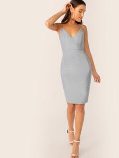 Lace-up Back Glitter Cami Dress