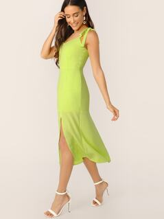 Neon Lime Self Tie Shoulder Split Hem Dress