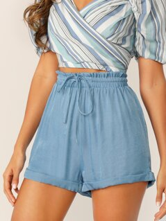 Drawstring Waist Cuffed Shorts
