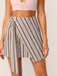 Tie Side Wrap Striped Skirt