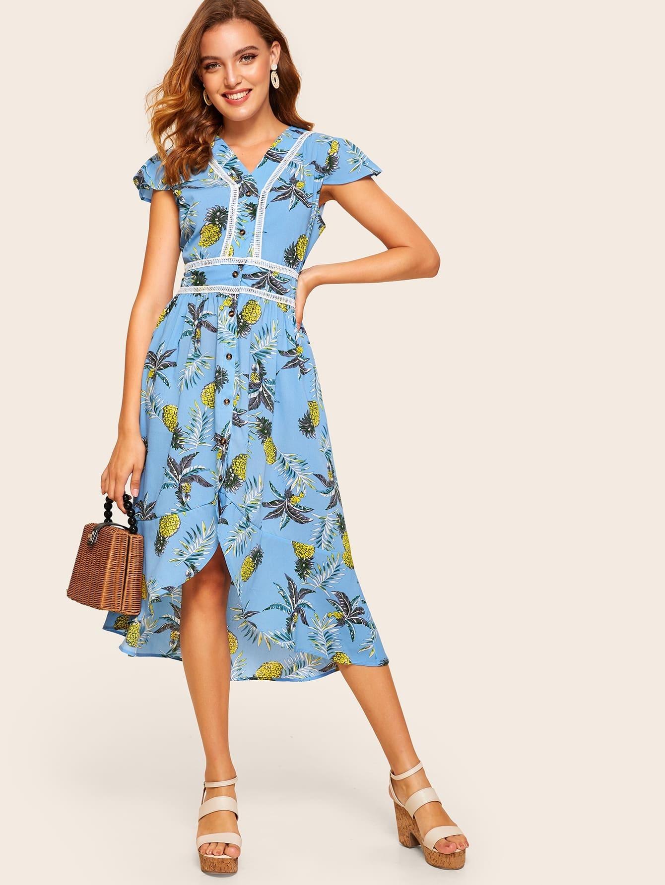 Фото - Асимметричное платье с ананасовым принтом от SheIn цвет синие