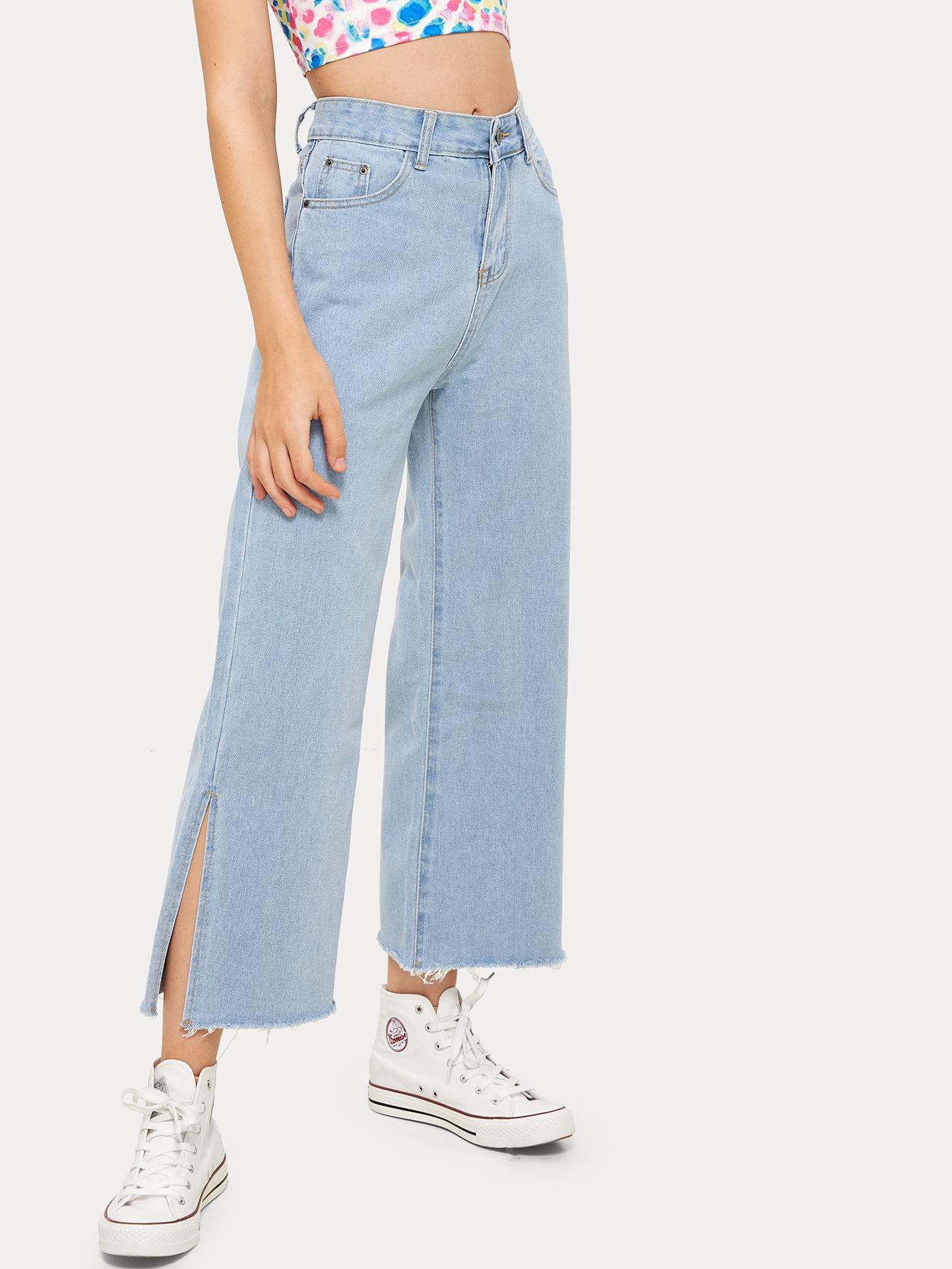 Фото - Однотонные широкие джинсы с разрезом от SheIn синего цвета