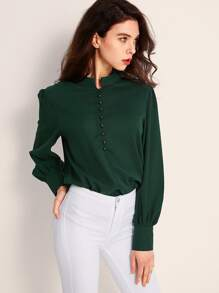 Bishop Sleeve Button Front Blouse