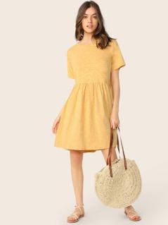 Slub Jersey Knit Short Sleeve Flared Hem Dress