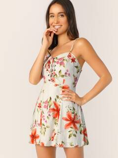 Lace Front Smocked Back Floral Sleeveless Dress