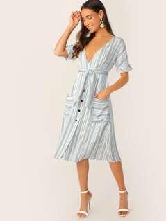 V-Neck Button Front Waist Tie Stripe Midi Dress