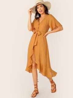 Button Front V-Neck Short Sleeve Midi Dress