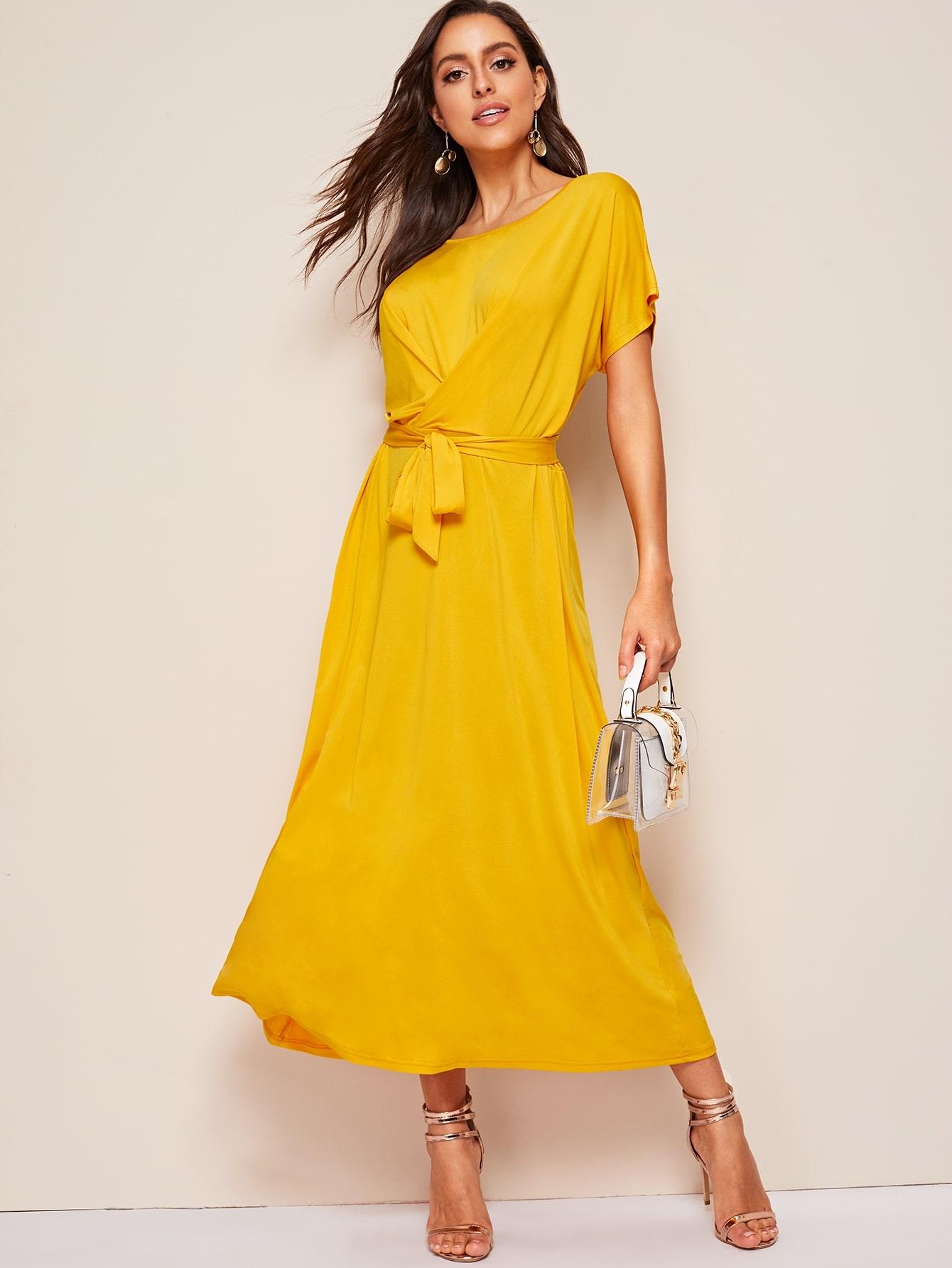 Фото - Стильное длинное платье от SheIn цвет жёлтые