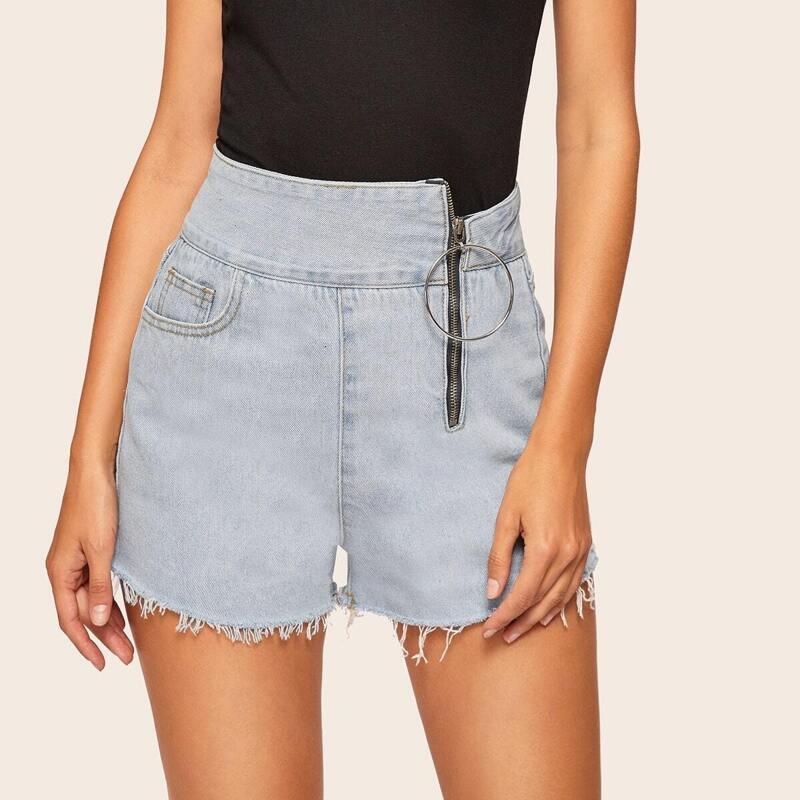 Zip Up Side Raw Hem Denim Shorts, Blue