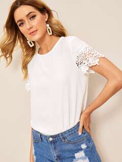 Keyhole Back Guipure Lace Sleeve Top