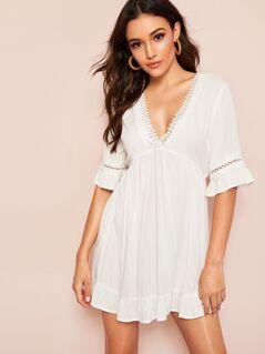 Deep V Neck Lace Insert Ruffle Hem Dress
