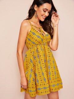 Aztec Print Tie Front Sun Slip Dress