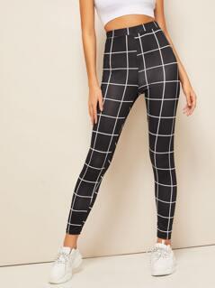 Grid Print Leggings
