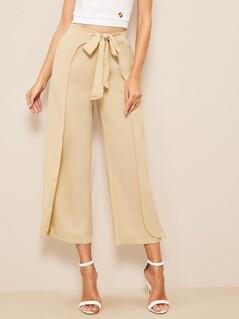 60s Zip Back Tie Waist Wrap Crop Pants
