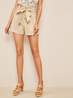 Button Fly Paperbag Waist Shorts