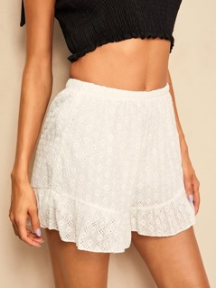 Flounce Hem Schiffy Shorts