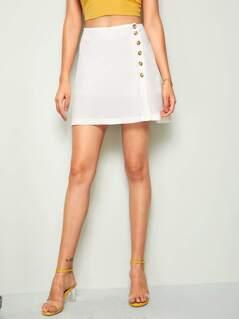Button Front A-line Skirt