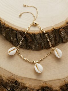 Drawstring Triple Puka Shell Chain Bracelet